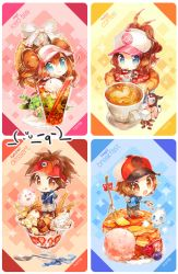 2boys baseball_cap blue_eyes brown_eyes brown_hair character_request chibi coffee cup dessert double_bun food fork hat ice_cream kyouhei_(pokemon) long_hair looking_at_viewer mei_(pokemon) multiple_boys multiple_girls namie-kun pancake pansage pokemon pokemon_(game) pokemon_bw pokemon_bw2 ponytail smile spoon sweets tagme tea teacup touko_(pokemon) touya_(pokemon) twintails visor_cap