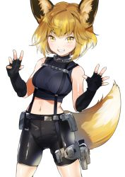 1girl ahoge animal_ears arms_up bangs bare_shoulders bike_shorts black_gloves blush bob_cut breasts collar commentary_request cowboy_shot crop_top crotch_seam dog_collar elbow_gloves eyebrows fang fingerless_gloves fox_ears fox_girl fox_tail gloves groin half-closed_eyes holster legs_apart medium_breasts multicolored_hair navel open_hand orange_eyes orange_hair original ribbed_gloves ribbed_shirt shiny shiny_clothes shirt short_eyebrows short_hair simple_background skin_tight skindentation sleeveless sleeveless_shirt slit_pupils smile solo standing stomach strap tail teeth thigh_holster thighs two-tone_hair weapon white_background white_hair yan'yo_(yan'yan'yo)