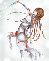 1girl asuna_(sao) breastplate brown_eyes brown_hair highres holding holding_sword holding_weapon inushi long_hair pleated_skirt red_skirt skirt solo sword sword_art_online thighhighs weapon white_legwear