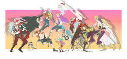 back-to-back basil_hawkins black_hair blonde_hair blue_hair boa_hancock brothers buggy_the_clown eustass_captain_kid hat heat_(one_piece) marco monkey_d_luffy one_piece perona pink_hair portgas_d_ace red_hair siblings straw_hat trafalgar_law vest