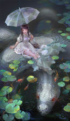 1girl arm_support artist_name black_eyes black_hair breasts dress fish full_body highres holding holding_umbrella koi lily_pad long_dress long_hair looking_afar medium_breasts original ripples scales shengyi_sun short_sleeves sitting snake solo transparent_umbrella umbrella wading water white_dress