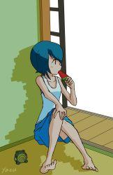1girl artist_request blue_hair feet pokemon pokemon_(game) pokemon_sm popsicle suiren_(pokemon) tagme tank_top