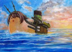 brown_hair cloud headgear kantai_collection mutsu_(snail) ocean oil_painting_(medium) ship short_hair sky smile tafuto traditional_media water