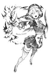 1girl alternate_costume bat bat_wings catholic character_name cross fangs foreshortening freng habit hat jewelry monochrome necklace nun remilia_scarlet rosary short_hair slit_pupils solo thighhighs touhou vampire winged_hat wings
