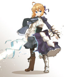 1girl ahoge amonitto armor asymmetrical_clothes blonde_hair blue_eyes boots fate/stay_night fate_(series) gauntlets juliet_sleeves long_sleeves looking_at_viewer mismatched_footwear puffy_sleeves saber scarf shirt skirt solo