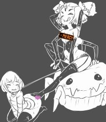 1girl androgynous arms_up blush censored fangs femdom frisk_(undertale) latex licking_lips monochrome monster_girl muffet multi_limb pigtails railroadmejic spider spider_girl spot_color sweat tongue_out undertale