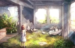 1girl arm_at_side bicycle brown_hair bush commentary_request day from_behind grass ground_vehicle highres hospital_gown indoors intravenous_drip light_rays medium_sleeves original pericokitajima ruins short_hair signature slippers solo sunbeam sunlight table window