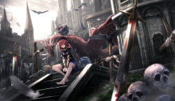 1girl architecture backlighting bare_legs bare_shoulders barefoot between_legs bird black_shirt blood bloody_weapon blurry building castle chains clothes_writing cloud cloudy_sky collar cross dark_souls day depth_of_field dragon earth_(ornament) fantasy feathers fog grass hands_together hat head_tilt hecatia_lapislazuli highres legs levitation long_hair looking_at_viewer moon_(ornament) multicolored_skirt off-shoulder_shirt outdoors perspective plaid plaid_skirt polos_crown red_eyes red_hair ryosios scenery shirt sitting skirt skull sky small_breasts smile solo souls_(from_software) stairs sunlight sword t-shirt thighs toes touhou v_arms weapon wind