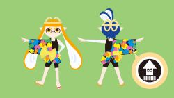 1boy 1girl absurdres bandaged_arm bike_shorts character_sheet clothes_down domino_mask eyebrows from_behind geta hachimaki hand_on_hip headband highres inkling japanese_clothes kimono long_hair mask nintendo off_shoulder official_art orange_hair pointy_ears ponytail rope shimenawa short_kimono simple_background splatoon tank_top tentacle_hair thick_eyebrows