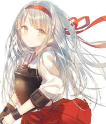 1girl bow_(weapon) brown_eyes gloves headband highres io_enishi japanese_clothes kantai_collection long_hair muneate shoukaku_(kantai_collection) silver_hair smile weapon