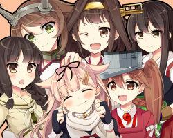 6+girls :3 :d :o ;d ^_^ akagi_(kantai_collection) black_hair brown_eyes brown_hair eyes_closed green_eyes kantai_collection kitakami_(kantai_collection) kiyu_(kiyupapiko) kongou_(kantai_collection) long_hair multiple_girls mutsu_(kantai_collection) one_eye_closed open_mouth ryuujou_(kantai_collection) short_hair smile yuudachi_(kantai_collection)