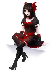 1girl black_hair black_sclera boots breasts gothic gothic_lolita heterochromia high_heel_boots kneehighs lolita_fashion nocturne_krumenker original red_eyes silver_eyes sitting skull solo suspenders thigh_boots thighhighs white_skin wings