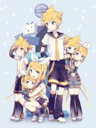 3boys 3girls age_comparison age_difference akiyoshi_(tama-pete) anniversary arm_warmers birthday blonde_hair blue_eyes bow brother_and_sister cuddling detached_sleeves hair_bow hair_ornament hair_ribbon hairclip headphones headset holding hug kagamine_len kagamine_len_(append) kagamine_rin kagamine_rin_(append) leaning_on_person leg_warmers multiple_boys multiple_girls multiple_persona navel necktie niconico ribbon sailor_collar see-through short_hair shorts siblings signpost smile twins vocaloid vocaloid_append yellow_necktie