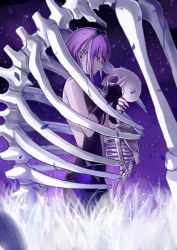 1girl absurdres assassin_(fate/prototype_fragments) breasts dark_skin fate/grand_order fate/prototype fate/prototype:_fragments_of_blue_and_silver fate_(series) hairband highres jeffrey10 profile purple_eyes purple_hair ribs short_hair skeleton skull solo