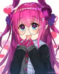 1girl :d artist_name bangs bespectacled black-framed_eyewear blue_eyes blush casual claws coat eyebrows_visible_through_hair fang fate/extra fate/extra_ccc fate_(series) glasses hair_between_eyes hair_ornament hairclip heart heart-shaped_pupils highres horns lancer_(fate/extra_ccc) long_hair long_sleeves looking_at_viewer open_mouth pink_hair pointy_ears round_teeth sakurano_shiyue scarf semi-rimless_glasses smile solo symbol-shaped_pupils teeth upper_body
