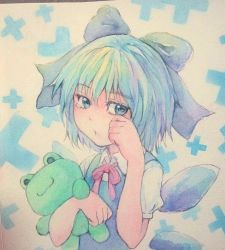1girl :< blue_eyes blue_hair bow cirno frog frown hair_bow holding ice ice_wings looking_at_viewer looking_to_the_side neck_ribbon photo ribbon sad short_hair solo stuffed_toy tearing_up tears touhou traditional_media upper_body watercolor_(medium) wings wiping_tears yuyu_(00365676)