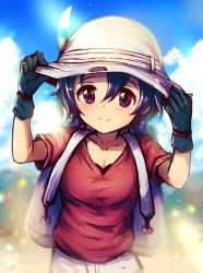 1girl adjusting_clothes adjusting_hat backpack bag black_gloves black_hair blue_eyes blue_sky blush breasts bucket_hat cleavage cloud cloudy_sky collarbone commentary cowboy_shot day dot_nose eyelashes gloves hair_between_eyes hands_on_headwear hands_up hat hat_feather kaban kara_(color) kemono_friends looking_at_viewer medium_breasts mountain outdoors red_shirt sandstar shirt short_hair short_sleeves shorts sky smile solo tareme white_hat white_shorts