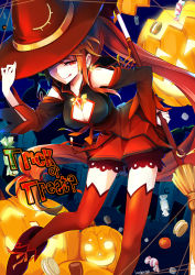 1girl :q boots broom candy cleavage_cutout cookie detached_sleeves elsword fence food fruit gem halloween halloween_costume hand_on_headwear hat highres holding_broom ignia_(elsword) jack-o'-lantern kuroshio_maki lamp leaning_forward long_hair looking_at_viewer one_eye_covered orange_eyes orange_hair ponytail red_eyes red_hair red_ribbon ribbon solo sweets text thighhighs tongue tongue_out trick_or_treat very_long_hair witch_hat