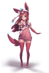 1girl animal_ears bare_shoulders blue_eyes bow dress elbow_gloves full_body gloves hair_bow hair_ornament newey panties pantyshot pantyshot_(standing) pink_gloves pink_hair pink_legwear pink_panties pokemon ribbed_dress short_dress smile solo standing sylveon tail thighhighs underwear
