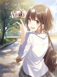 1boy 1girl bag booota bottle brown_eyes brown_hair character_request commentary_request copyright_request holding long_sleeves looking_at_viewer necktie open_mouth phone phone_screen shirt short_hair skirt tree v white_shirt yellow_necktie