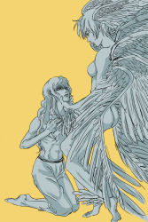 2boys androgynous angel_wings ass asuka_ryou barefoot berserk blonde_hair blue_eyes breasts crossover devilman griffith hand_on_another's_face head_wings highres icaruslulu kneeling lips long_hair monochrome multiple_boys nipples nude satan_(devilman) shirtless short_hair sideburns simple_background trait_connection wavy_hair white_hair wings