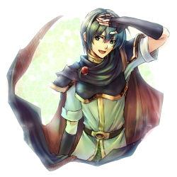 1boy armor blue_eyes blue_hair cape fingerless_gloves fire_emblem fire_emblem:_monshou_no_nazo gloves male_focus marth mi-a open_mouth smile solo tiara upper_body