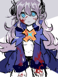 artist_request blood blue_eyes chiliarch_(elsword) elsword horns loli luciela_r._sourcream pointy_ears tears white_hair