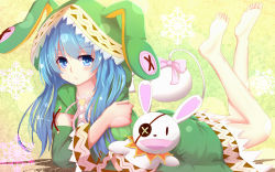1girl absurdres animal_ears bakanoe barefoot blue_eyes blue_hair bunny_ears date_a_live dress eyepatch gradient_background green_dress hand_puppet hat hat_with_ears highres legs_up long_hair looking_at_viewer lying on_stomach puppet soles solo yoshino_(date_a_live) yoshinon