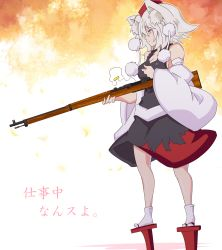 1girl animal_ears detached_sleeves geta gun hat highres inubashiri_momiji red_eyes rifle solo tate_eboshi tengu-geta tokin_hat touhou weapon white_hair wolf_ears yokoshima_(qb74pnkp)