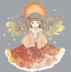 1girl black_hair bow houraisan_kaguya japanese_clothes long_hair onigiri_(ginseitou) open_mouth ribbon skirt smile solo touhou