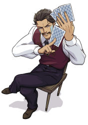 1boy black_hair brown_eyes card chair daniel_d'arby facial_hair facial_mark from_above full_body highres jojo_no_kimyou_na_bouken legs_crossed male_focus mustache perspective playing_card saharada shadow sitting solo tattoo