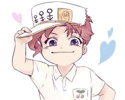 1boy cosplay hat heart jojo_no_kimyou_na_bouken kakyouin_noriaki kuujou_joutarou kuujou_joutarou_(cosplay) male_focus pencil_(haen2) polo_shirt purple_eyes red_hair smile solo upper_body