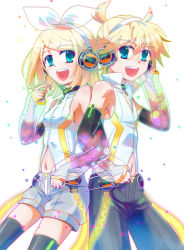 1boy 1girl aqua_eyes arihara_ema bass_clef blonde_hair breasts brother_and_sister elbow_gloves gloves headset kagamine_len kagamine_rin navel no_pupils open_mouth short_hair siblings small_breasts thighhighs treble_clef vocaloid