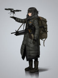 1girl ammunition_belt backpack bag black_eyes boots bullet coat commentary drone glasses gloves grey_background gun hettsuaa highres hood machine_gun original outstretched_hand over-rim_glasses scope semi-rimless_glasses shadow short_hair sling solo weapon winter_clothes winter_coat