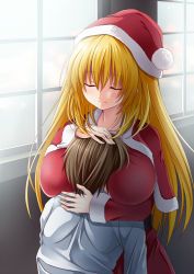 1boy 1girl atago_(kantai_collection) between_breasts blonde_hair breast_smother breasts brown_hair creek_(moon-sky) eyes_closed hat head_between_breasts height_difference hug huge_breasts kantai_collection large_breasts long_hair santa_costume santa_hat smile window