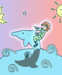 1girl brown_hair dolphin eyes_closed happy military_uniform riding sea short_hair smile sora_no_woto sorami_kanata sun tsukune_ru water