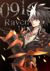 1boy belt black_hair character_name claws cross cross_necklace elsword jinxlin male_focus multicolored_hair raven_(elsword) reckless_fist_(elsword) solo spiked_hair two-tone_hair white_hair yellow_eyes