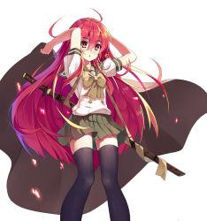 1girl baisi_shaonian highres jewelry long_hair necklace red_eyes red_hair school_uniform serafuku shakugan_no_shana shana sword thighhighs weapon