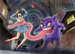 1girl bloodshot_eyes crazy_eyes creepy dark evil_smile gengar ghost grin itou_junji long_tongue official_art open_mouth pokemon pokemon_(creature) polka_dot_skirt red_eyes scared screaming skirt smile spiral teeth tongue tongue_out