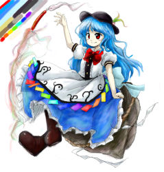 1girl blue_hair boots bow brown_boots color_guide food fruit full_body hat hinanawi_tenshi huyusilver long_hair oota_jun'ya_(style) parody peach puffy_short_sleeves puffy_sleeves red_bow red_eyes rock rope shide shimenawa short_sleeves simple_background smile solo style_parody sword_of_hisou touhou