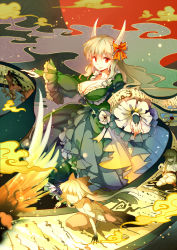1girl age_progression arm_support bangs bow breasts bridal_gauntlets child cleavage cloud dress ex-keine feathered_wings floating_hair frills fujiwara_no_mokou hair_between_eyes hair_bow hair_ribbon horn_bow horns ink japanese_clothes kamishirasawa_keine kimono light_particles long_hair long_sleeves looking_at_viewer medium_breasts multiple_views no_eyes ofuda one_knee outstretched_arms pants pounce red_bow red_eyes red_pants red_sun ribbon ribbon-trimmed_sleeves ribbon_trim sash scroll silk silver_hair smile smoke spider_web standing suspenders touhou very_long_hair wavy_mouth white_kimono wide_sleeves wings yetworldview_kaze younger
