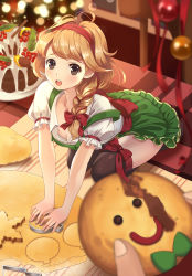 1girl :o arched_back baking black_legwear blonde_hair blurry blush braid breasts brown_eyes cake christmas cleavage cookie depth_of_field dress food green_skirt hair_ribbon highres holding holding_food indoors long_hair looking_at_viewer maid medium_breasts miyaza open_mouth original pinafore_dress pov puffy_short_sleeves puffy_sleeves red_ribbon ribbon seiza short_sleeves single_braid sitting skirt smiley_face solo_focus teeth thighhighs tress_ribbon