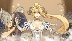 2girls asymmetrical_hair bangs belial_(the_seven_deadly_sins) black_gloves blonde_hair breasts brown_eyes cleavage curled_horns demon_girl demon_horns end_card frown glasses gloves grey_hair hidari_(left_side) highres horns large_breasts long_hair looking_at_another looking_at_viewer lucifer_(the_seven_deadly_sins) multiple_girls official_art parted_lips partly_fingerless_gloves pauldrons pointy_ears ponytail puffy_short_sleeves puffy_sleeves red_eyes revealing_clothes semi-rimless_glasses short_sleeves smile sparkle the_seven_deadly_sins tiara under-rim_glasses upper_body very_long_hair white_gloves