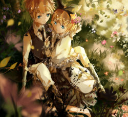 1boy 1girl black_necktie black_ribbon blonde_hair blue_eyes brother_and_sister hair_ribbon highres kagamine_len kagamine_rin necktie outdoors ribbon ruoxuanxuanorz short_hair siblings sitting smile vocaloid