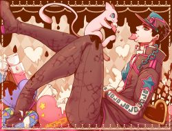 1boy argyle argyle_background black_hair boots chains cookie crossover earrings food food_in_mouth food_on_face frame from_side green_eyes hat heart heart_pillow hook jewelry jojo_no_kimyou_na_bouken kuujou_joutarou legendary_pokemon long_coat male_focus mew pillow pokemon pokemon_(creature) profile sitting skin_tight stud_earrings syei tail