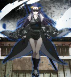 1girl highres hyakka_ryouran_samurai_girls japanese_clothes long_hair sasaki_kojirou_(hyakka_ryouran) smile solo standing stitched