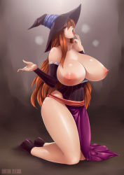 1girl areolae bare_shoulders breasts breasts_outside brown_eyes brown_hair curvy doctorzexxck dragon's_crown full_body gigantic_breasts gradient_background hat highres huge_breasts kneeling long_hair looking_at_viewer nipples open_mouth solo sorceress_(dragon's_crown) sweat thick_thighs tongue tongue_out wide_hips witch_hat
