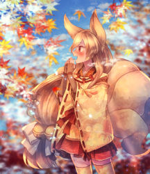 1girl animal_ears autumn_leaves bell blonde_hair blush bow brown_gloves elbow_gloves floral_print fox_tail gloves hair_bow japanese_clothes jingle_bell long_hair moe_(hamhamham) ninetales open_mouth personification pokemon profile red_eyes red_skirt skirt standing tail very_long_hair white_bow wide_sleeves yellow_legwear