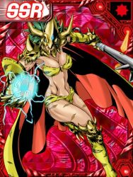 1girl abs bikini blue_eyes boots breasts cape card_game claws cleavage collar curvy digimon digimon_collectors fang female gauntlets gloves green_hair helmet hips horn jewel kinkakumon knee_pads large_breasts legs monster_girl muscle open_mouth scars short_hair shoulder_pads skull striped_bikini tagme thighs tiger_print toned weapon