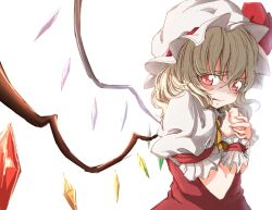 arm_garter ascot blonde_hair bloom blush crystal darjeeling_(reley) flandre_scarlet from_side hands_together hat hat_ribbon highres looking_at_viewer mob_cap parted_lips puffy_short_sleeves puffy_sleeves red_eyes red_ribbon ribbon scared short_sleeves side_ponytail solo touhou upper_body wavy_mouth white_background wings wrist_cuffs